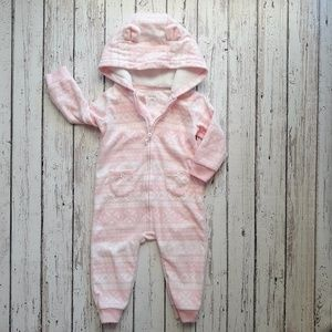 CARTERS Blanket Fleece Pink Hooded Outfit 12M